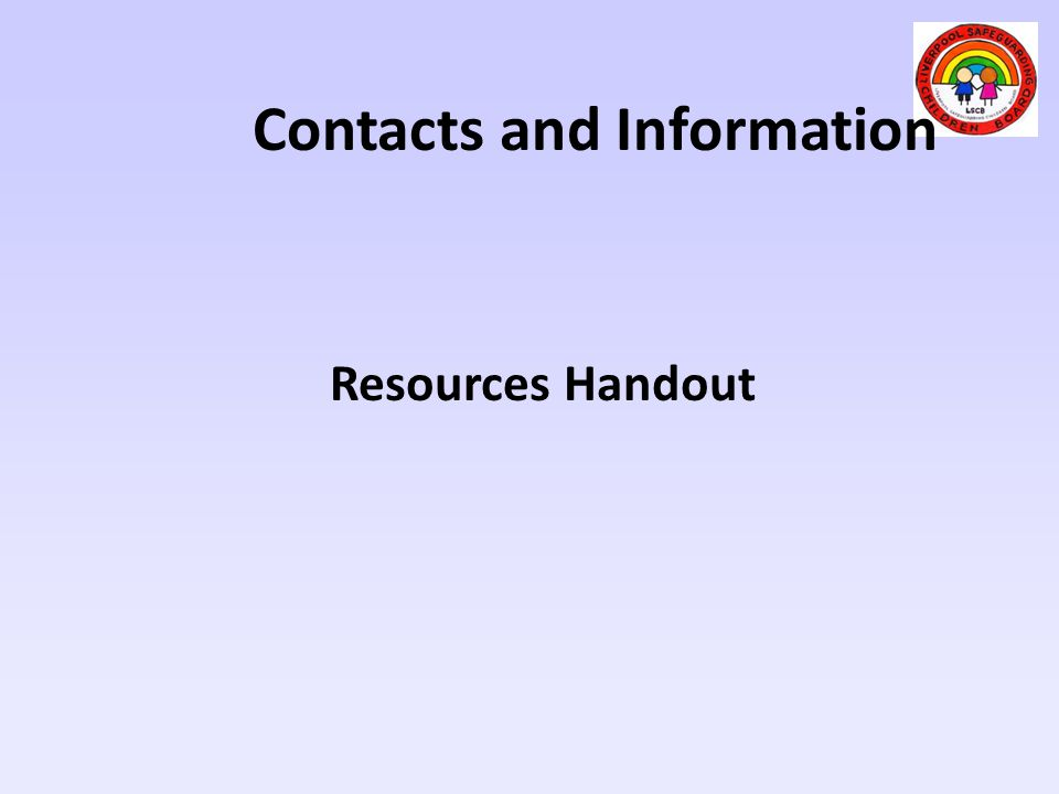 Contacts and Information Resources Handout