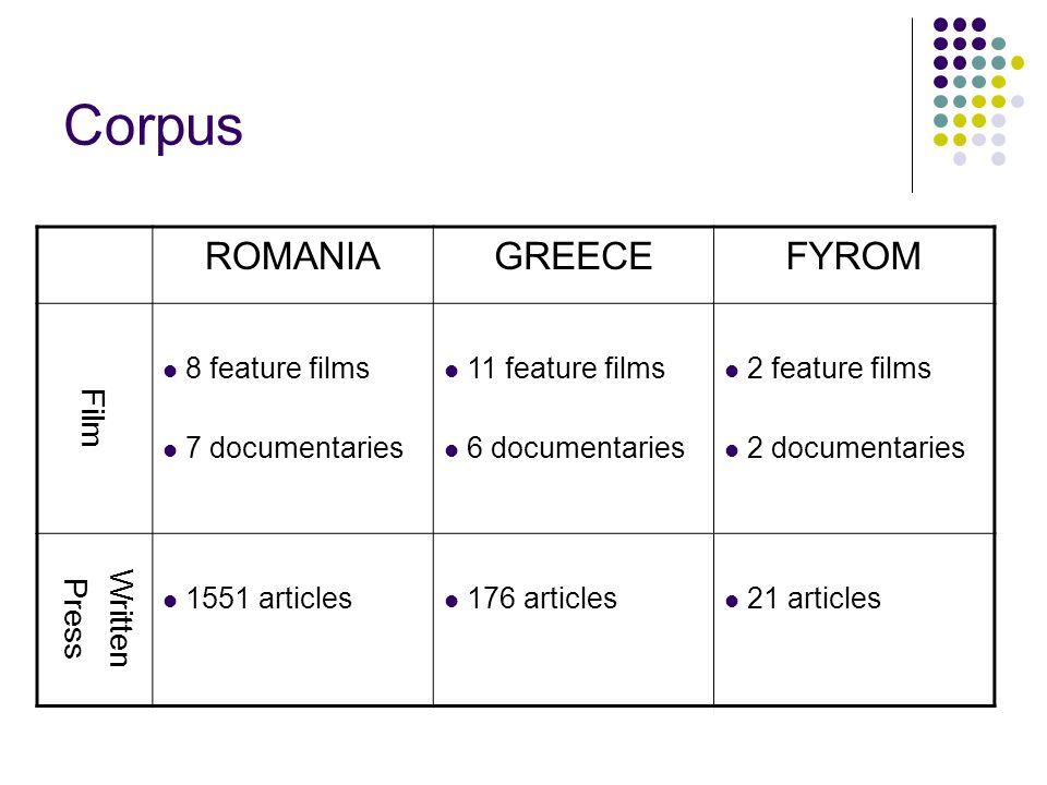 Corpus ROMANIAGREECEFYROM Film 8 feature films 7 documentaries 11 feature films 6 documentaries 2 feature films 2 documentaries Written Press 1551 art