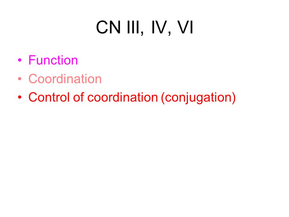 CN III, IV, VI Function Coordination Control of coordination (conjugation)