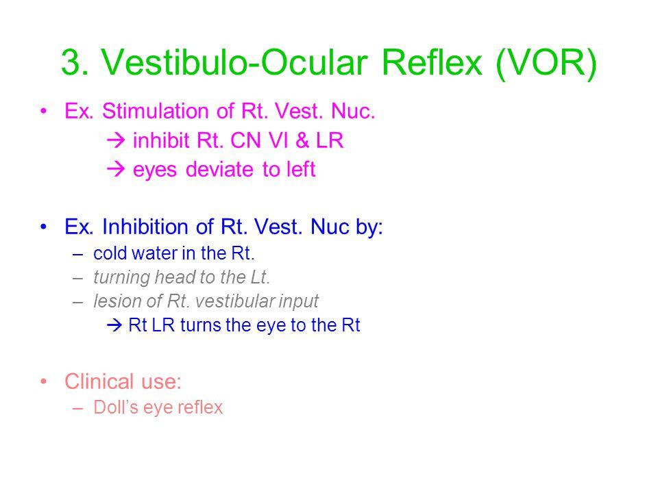 3. Vestibulo-Ocular Reflex (VOR) Ex. Stimulation of Rt. Vest. Nuc.  inhibit Rt. CN VI & LR  eyes deviate to left Ex. Inhibition of Rt. Vest. Nuc by: