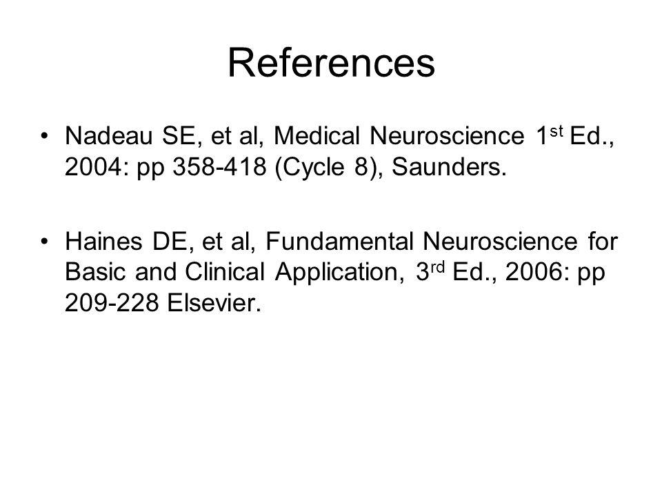 References Nadeau SE, et al, Medical Neuroscience 1 st Ed., 2004: pp 358-418 (Cycle 8), Saunders. Haines DE, et al, Fundamental Neuroscience for Basic