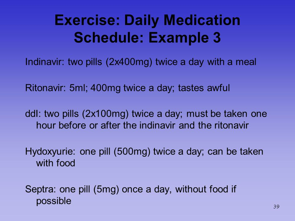 Exercise: Daily Medication Schedule: Example 3 Indinavir: two pills (2x400mg) twice a day with a meal Ritonavir: 5ml; 400mg twice a day; tastes awful ddI: two pills (2x100mg) twice a day; must be taken one hour before or after the indinavir and the ritonavir Hydoxyurie: one pill (500mg) twice a day; can be taken with food Septra: one pill (5mg) once a day, without food if possible 39