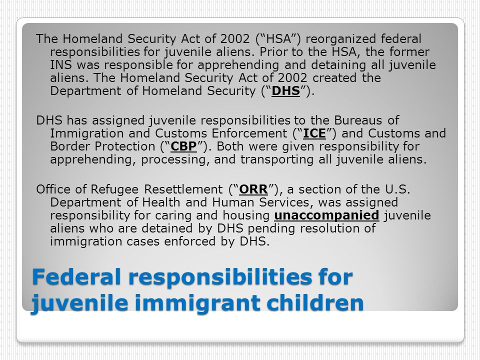 """Federal responsibilities for juvenile immigrant children The Homeland Security Act of 2002 (""""HSA"""") reorganized federal responsibilities for juvenile a"""