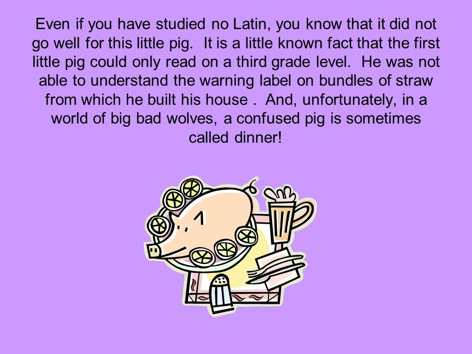 Even if you have studied no Latin, you know that it did not go well for this little pig.