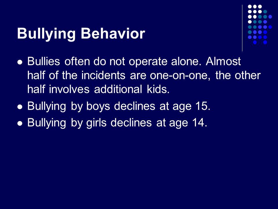 Bullying Behavior Bullies often do not operate alone.