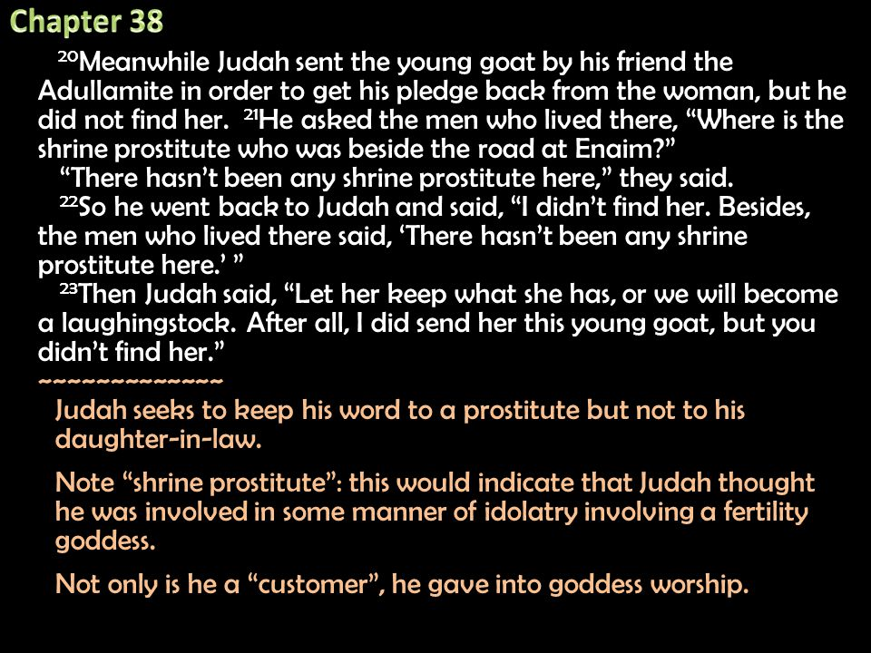 20 Meanwhile Judah sent the young goat by his friend the Adullamite in order to get his pledge back from the woman, but he did not find her.