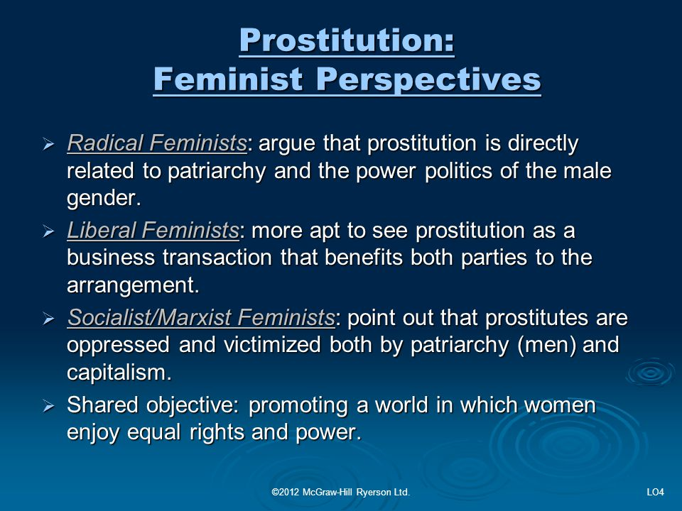 Prostitution: Feminist Perspectives  Radical Feminists: argue that prostitution is directly related to patriarchy and the power politics of the male