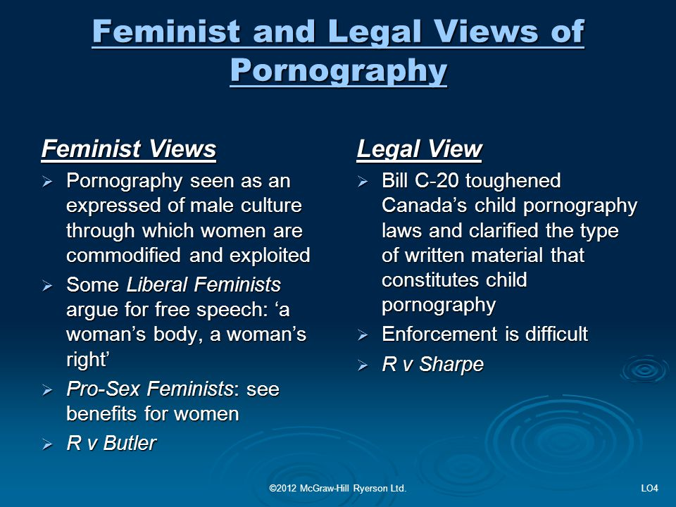 Feminist and Legal Views of Pornography Feminist Views  Pornography seen as an expressed of male culture through which women are commodified and expl