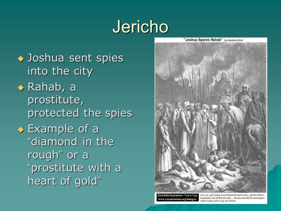 Jericho  Hebrews marched around the city for seven days  Marched around seven times on seventh day  Blew their horns  Walls came a- tumblin` down
