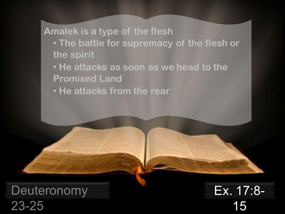 Deuteronomy 23-25 Amalek is a type of the flesh Ex.