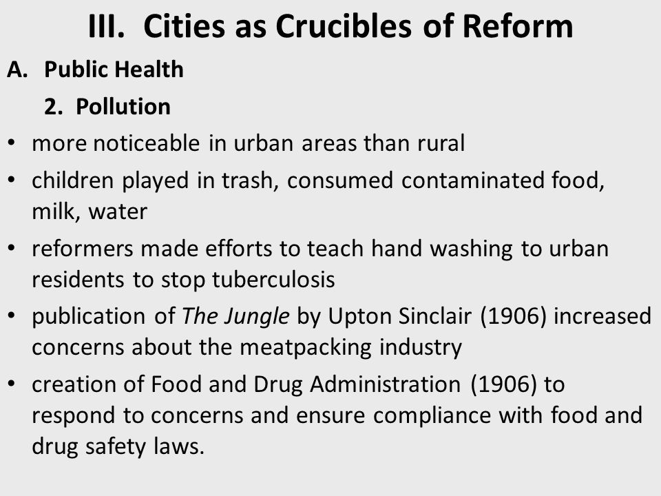 III. Cities as Crucibles of Reform A.Public Health 2. Pollution more noticeable in urban areas than rural children played in trash, consumed contamina