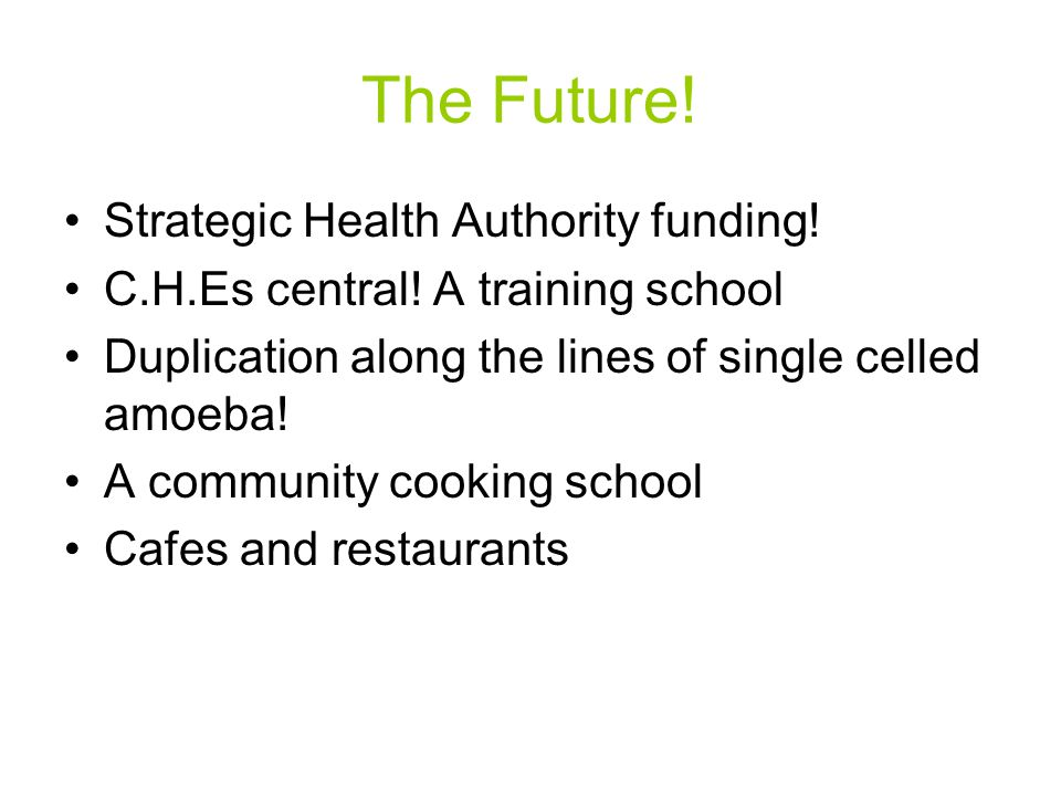 The Future! Strategic Health Authority funding! C.H.Es central! A training school Duplication along the lines of single celled amoeba! A community coo