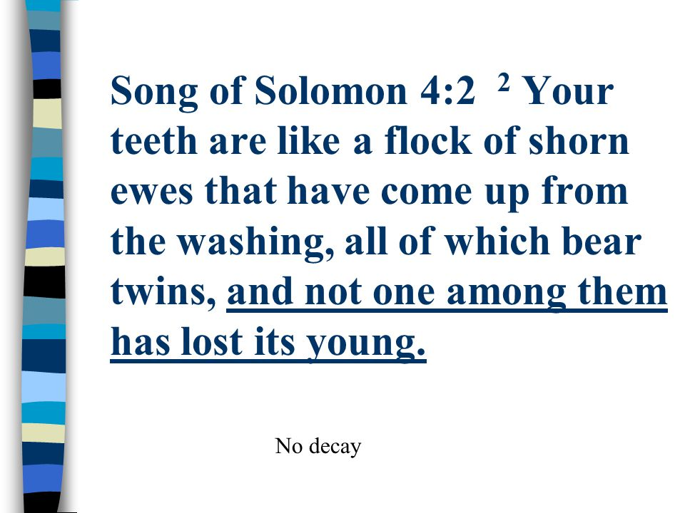 Song of Solomon 4:2 2 Your teeth are like a flock of shorn ewes that have come up from the washing, all of which bear twins, and not one among them has lost its young.