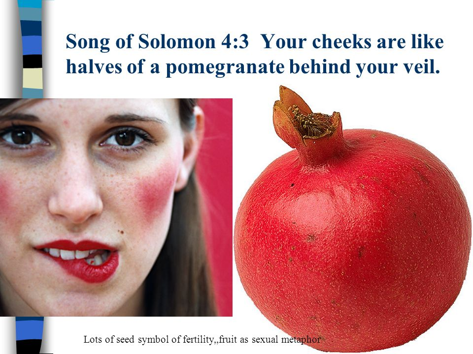Song of Solomon 4:3 Your cheeks are like halves of a pomegranate behind your veil.