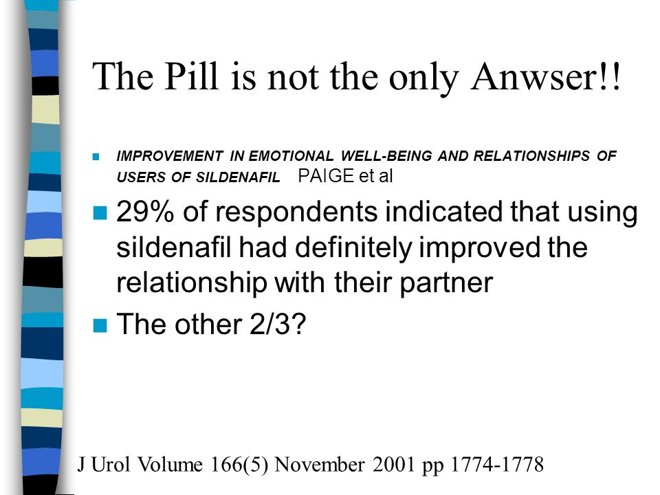The Pill is not the only Anwser!! IMPROVEMENT IN EMOTIONAL WELL-BEING AND RELATIONSHIPS OF USERS OF SILDENAFIL PAIGE et al 29% of respondents indicate