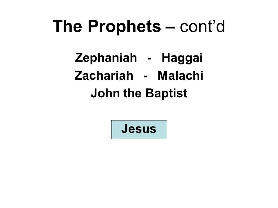 The Prophets – cont'd Zephaniah - Haggai Zachariah - Malachi John the Baptist Jesus