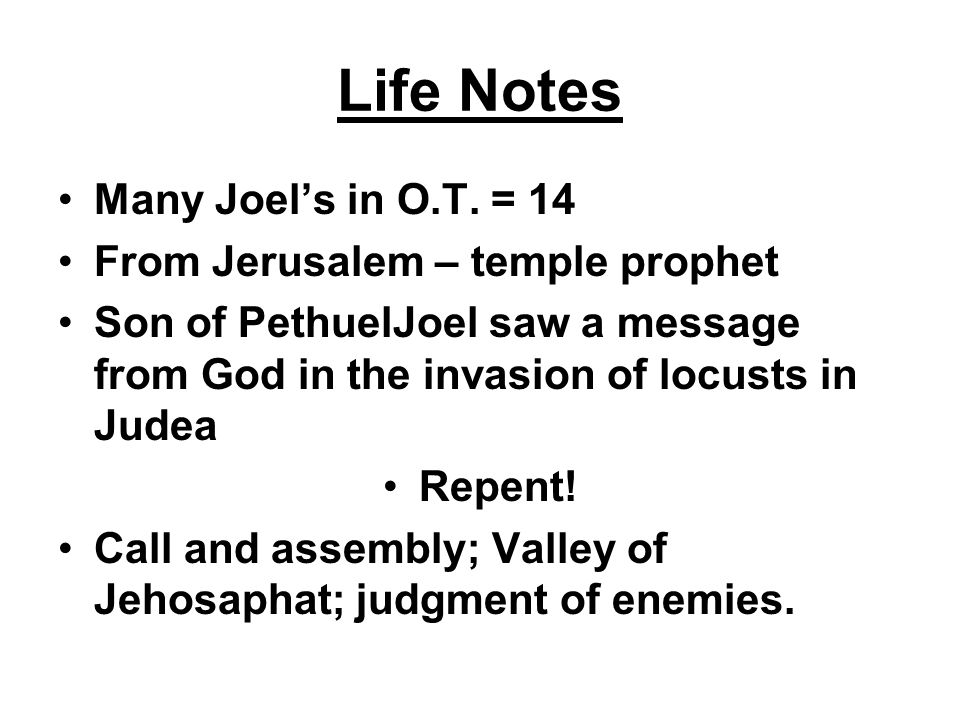 Life Notes Many Joel's in O.T. = 14 From Jerusalem – temple prophet Son of PethuelJoel saw a message from God in the invasion of locusts in Judea Repe
