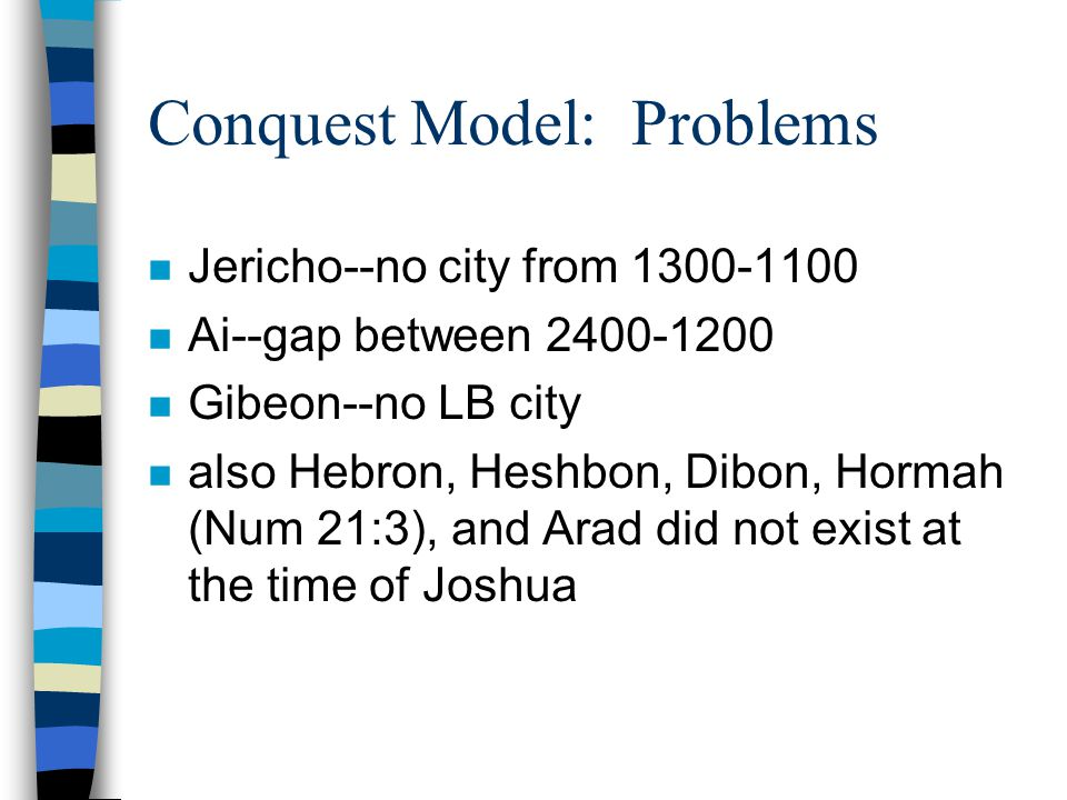 Conquest Model: Problems n Jericho--no city from 1300-1100 n Ai--gap between 2400-1200 n Gibeon--no LB city n also Hebron, Heshbon, Dibon, Hormah (Num 21:3), and Arad did not exist at the time of Joshua
