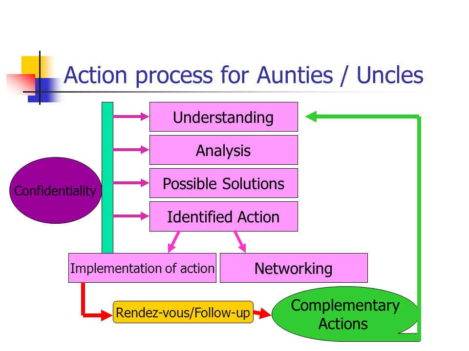 Action process for Aunties / Uncles Understanding Analysis Possible Solutions Identified Action Implementation of action Networking Rendez-vous/Follow-up Complementary Actions Confidentiality