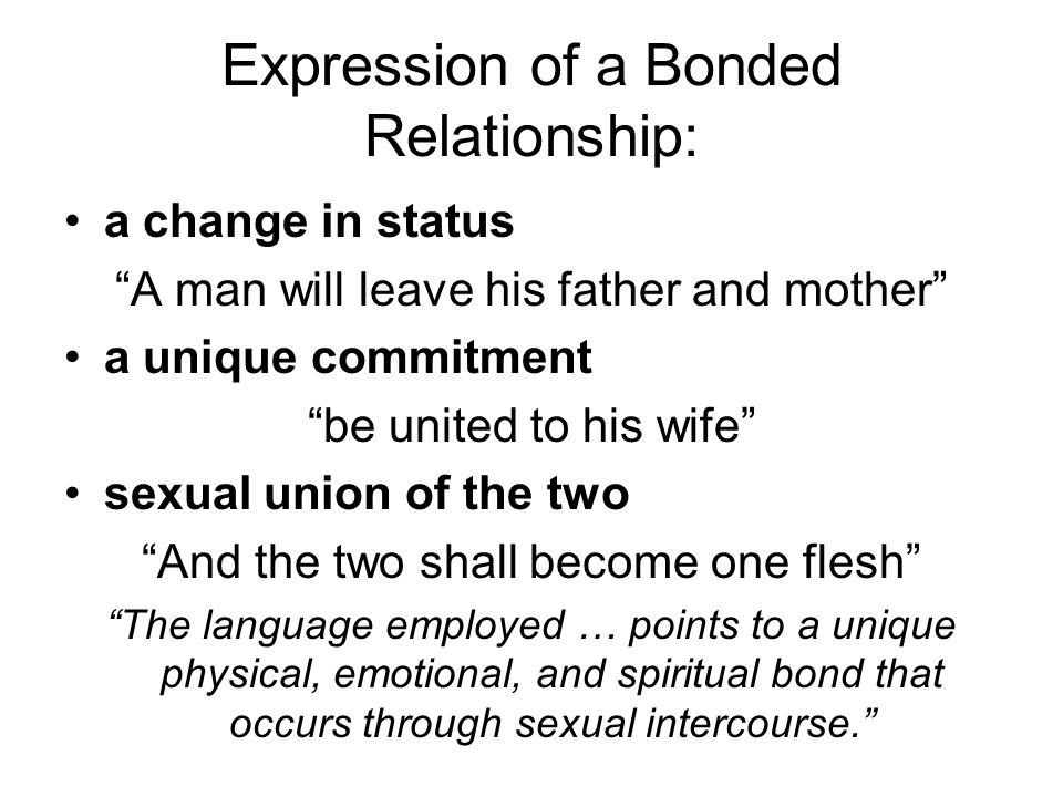 """Expression of a Bonded Relationship: a change in status """"A man will leave his father and mother"""" a unique commitment """"be united to his wife"""" sexual un"""