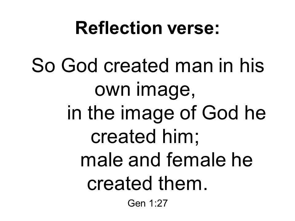 Reflection verse: So God created man in his own image, in the image of God he created him; male and female he created them. Gen 1:27