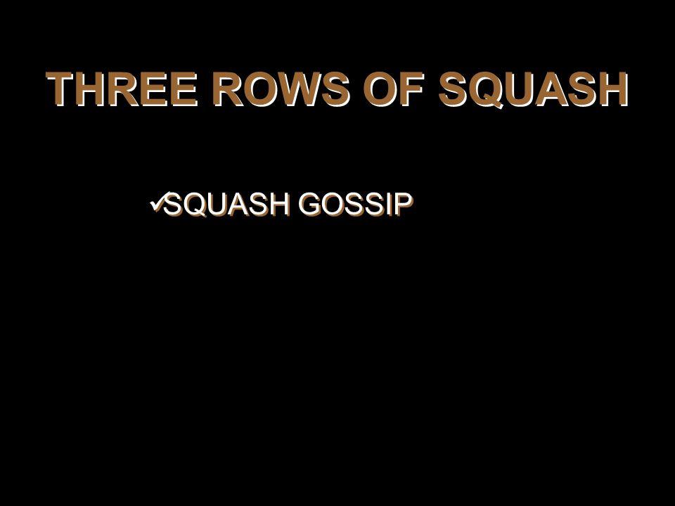 THREE ROWS OF SQUASH SQUASH GOSSIP