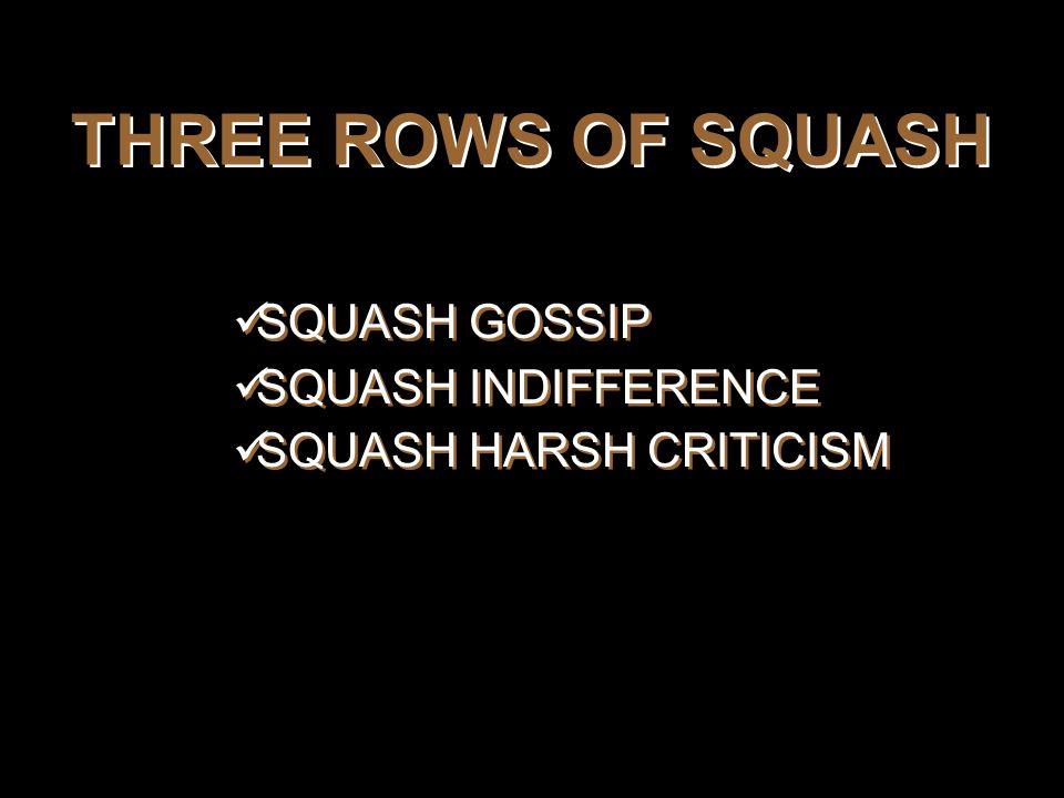 THREE ROWS OF SQUASH SQUASH GOSSIP SQUASH INDIFFERENCE SQUASH HARSH CRITICISM SQUASH GOSSIP SQUASH INDIFFERENCE SQUASH HARSH CRITICISM