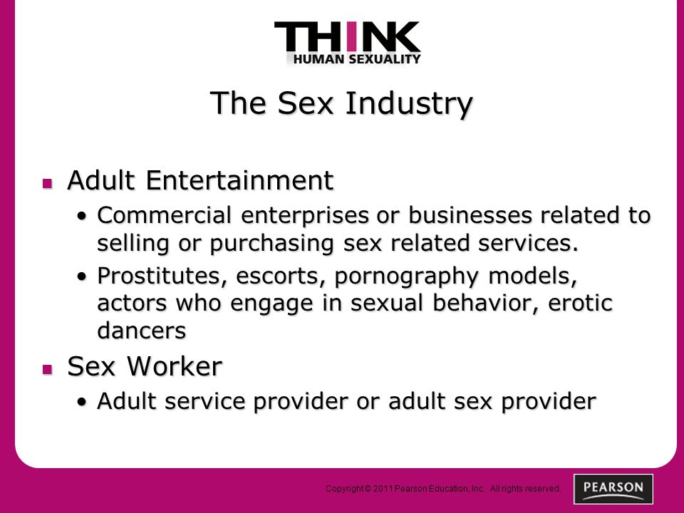Copyright © 2011 Pearson Education, Inc. All rights reserved. The Sex Industry Adult Entertainment Adult Entertainment Commercial enterprises or busin