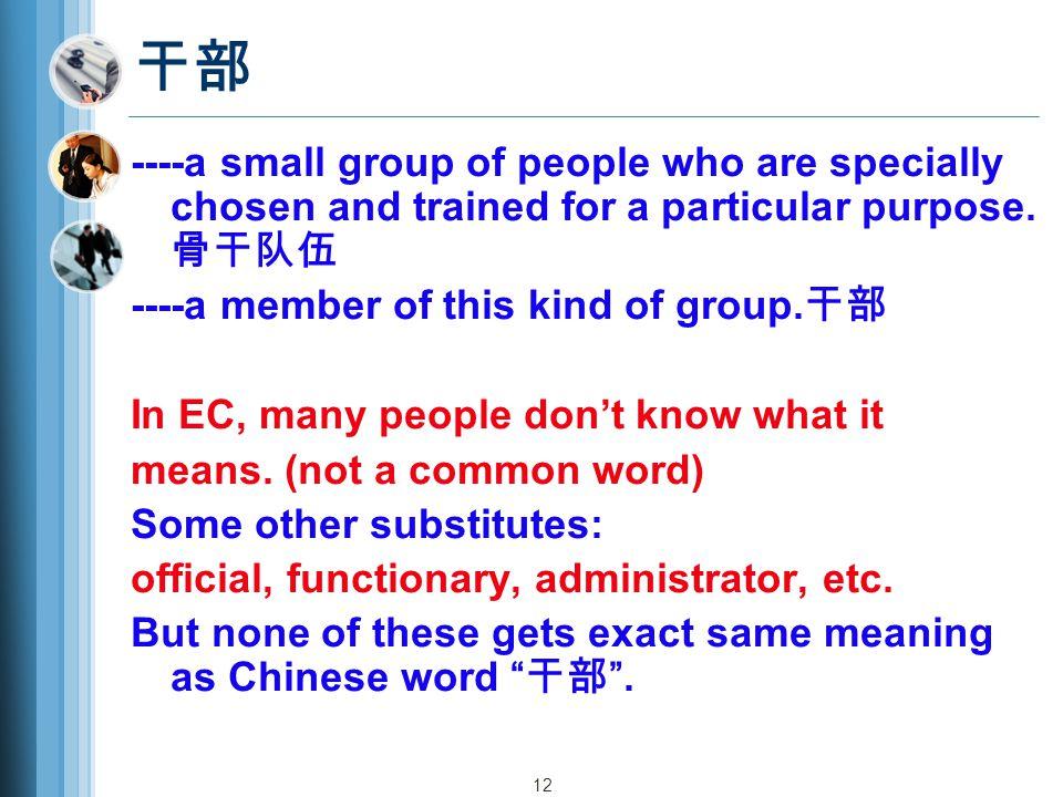 12 干部 ----a small group of people who are specially chosen and trained for a particular purpose.