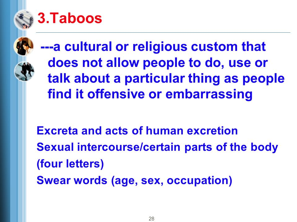 28 3.Taboos ---a cultural or religious custom that does not allow people to do, use or talk about a particular thing as people find it offensive or embarrassing Excreta and acts of human excretion Sexual intercourse/certain parts of the body (four letters) Swear words (age, sex, occupation)