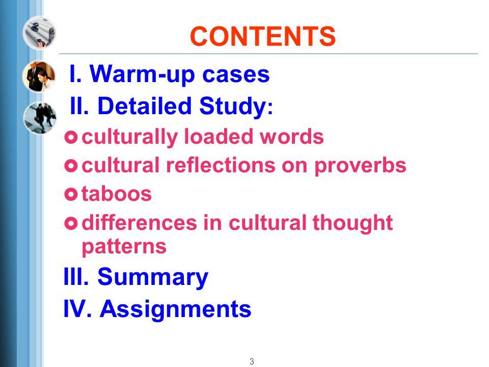 3 CONTENTS I.Warm-up cases II.