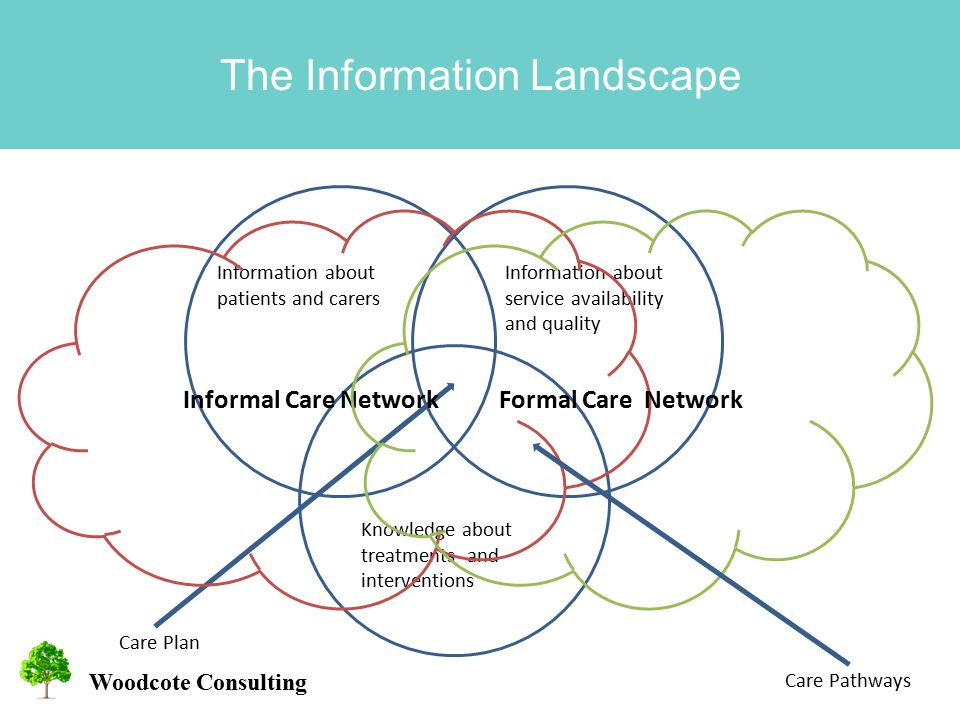 Woodcote Consulting The Information Landscape Information about service availability and quality Information about patients and carers Knowledge about treatments and interventions Care Plan Informal Care NetworkFormal Care Network Care Pathways