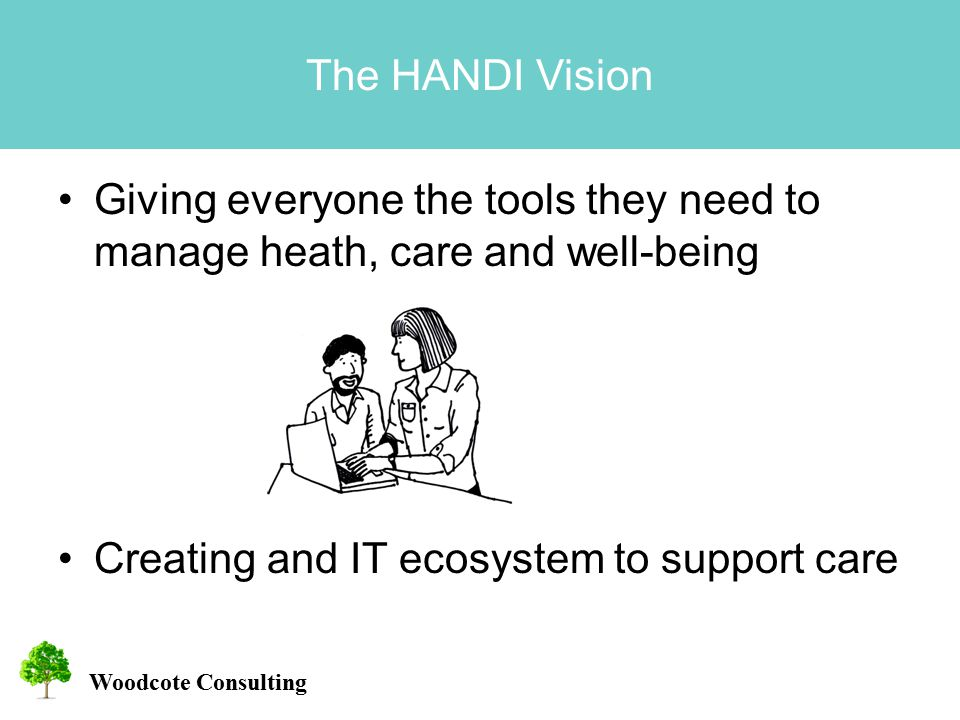 Woodcote Consulting The HANDI Vision Giving everyone the tools they need to manage heath, care and well-being Creating and IT ecosystem to support care