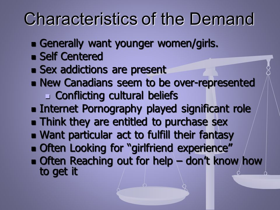 Characteristics of the Demand Generally want younger women/girls.