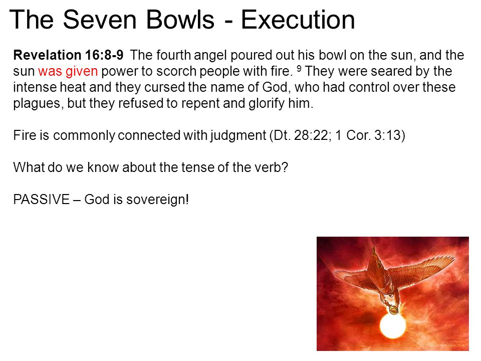 Revelation 16:8-9 The fourth angel poured out his bowl on the sun, and the sun was given power to scorch people with fire. 9 They were seared by the i
