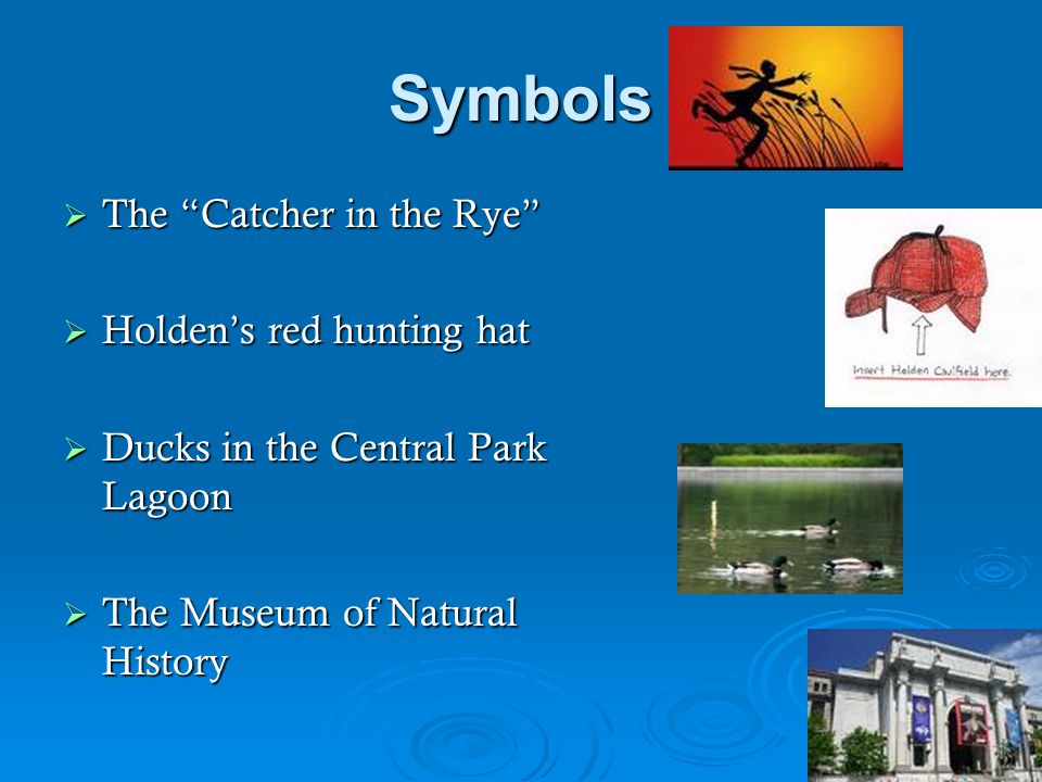 "Symbols  The ""Catcher in the Rye""  Holden's red hunting hat  Ducks in the Central Park Lagoon  The Museum of Natural History"