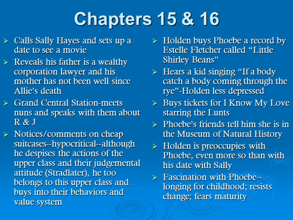 Chapters 15 & 16  Calls Sally Hayes and sets up a date to see a movie  Reveals his father is a wealthy corporation lawyer and his mother has not bee