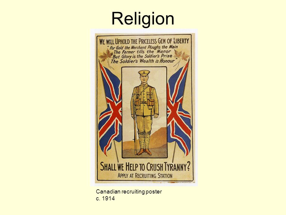 Religion Canadian recruiting poster c. 1914