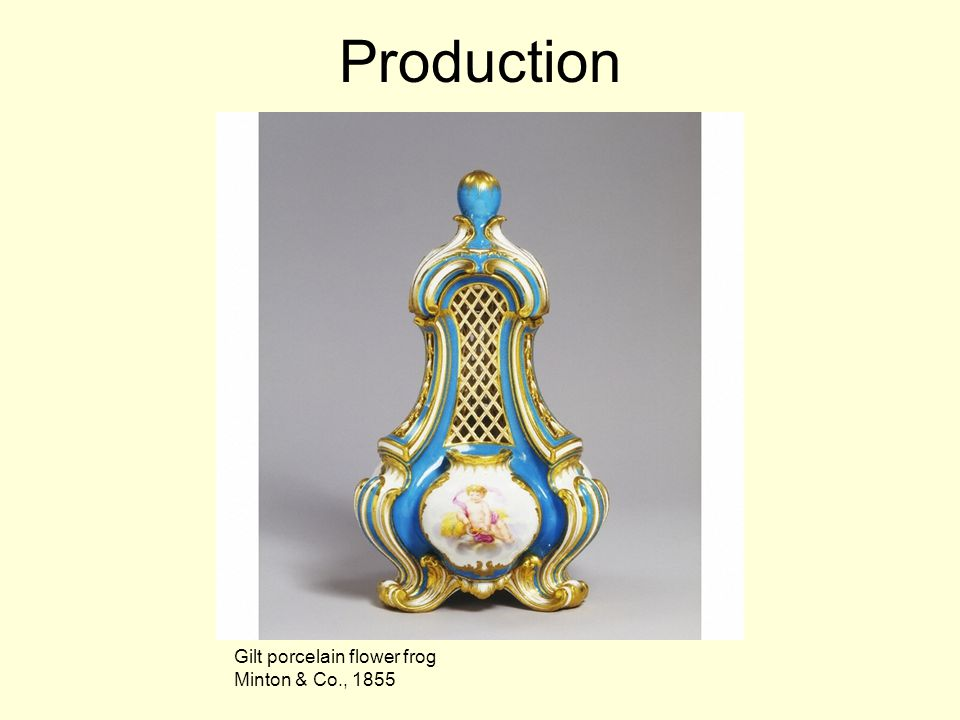 Production Gilt porcelain flower frog Minton & Co., 1855