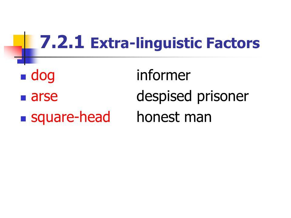 7.2.1 Extra-linguistic Factors dog informer arse despised prisoner square-head honest man