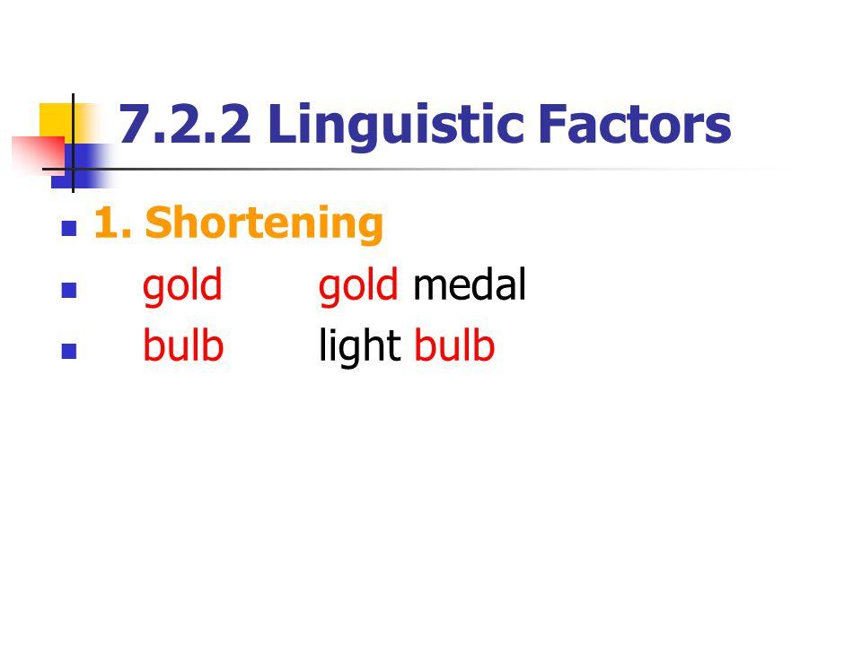 7.2.2 Linguistic Factors 1. Shortening gold gold medal bulb light bulb