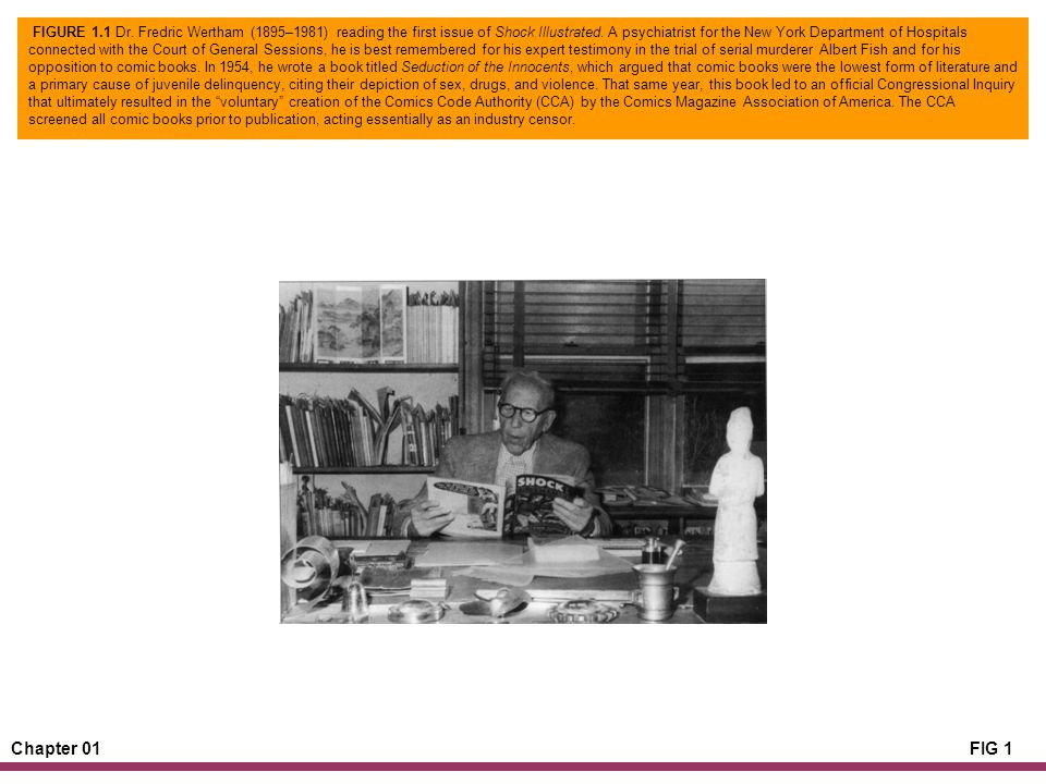 Chapter 01FIG 1 FIGURE 1.1 Dr. Fredric Wertham (1895–1981) reading the first issue of Shock Illustrated. A psychiatrist for the New York Department of