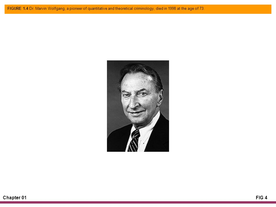 Chapter 01FIG 4 FIGURE 1.4 Dr. Marvin Wolfgang, a pioneer of quantitative and theoretical criminology, died in 1998 at the age of 73.