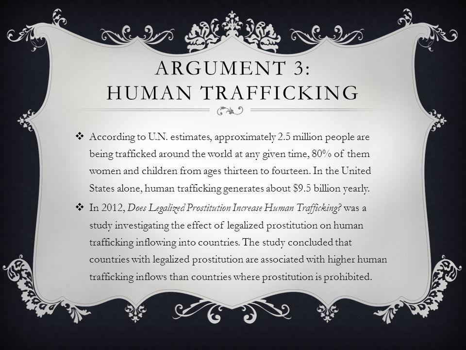 ARGUMENT 3: HUMAN TRAFFICKING  According to U.N.