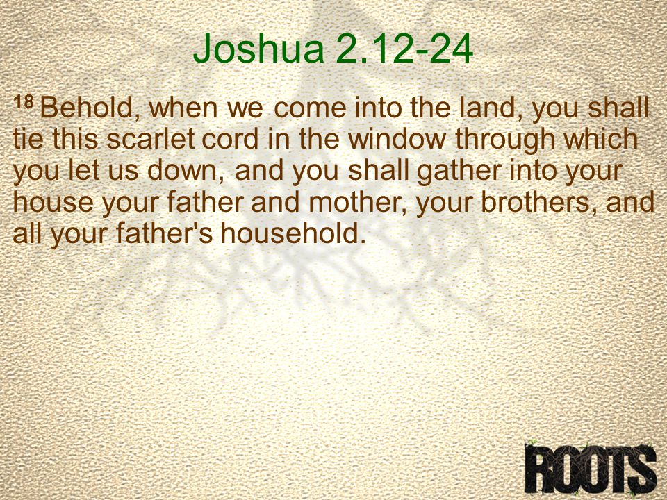 Joshua 2.12-24 18 Behold, when we come into the land, you shall tie this scarlet cord in the window through which you let us down, and you shall gather into your house your father and mother, your brothers, and all your father s household.