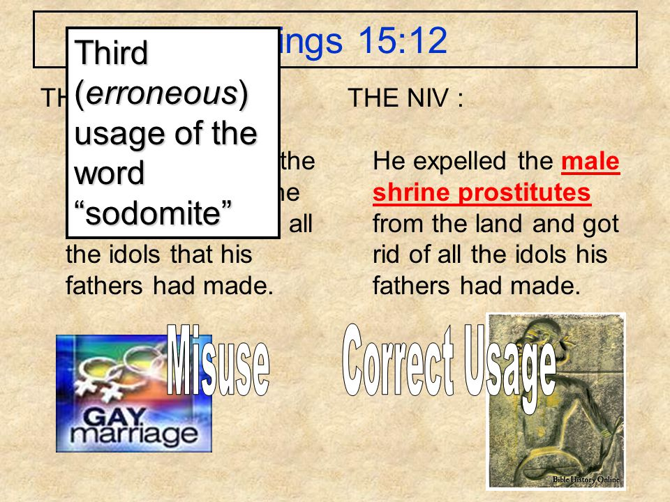 1 Kings 15:12 THE KJV : And he took away the sodomites out of the land, and removed all the idols that his fathers had made. THE NIV : He expelled the