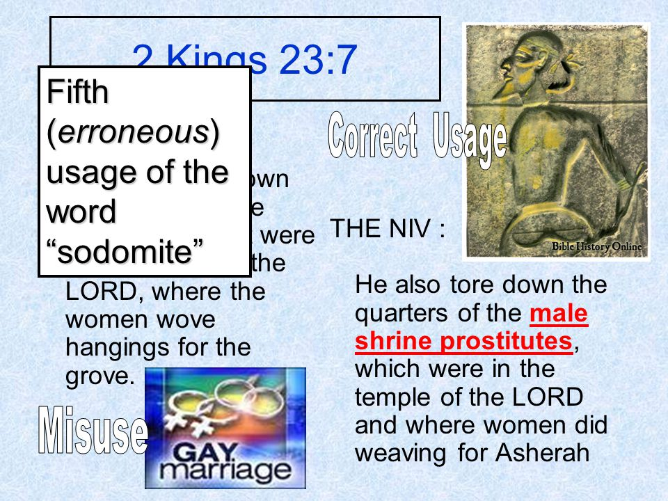 2 Kings 23:7 THE KJV : And he brake down the houses of the sodomites, that were by the house of the LORD, where the women wove hangings for the grove.