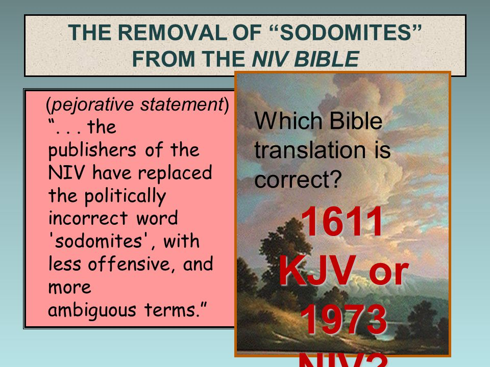 "THE REMOVAL OF ""SODOMITES"" FROM THE NIV BIBLE (pejorative statement) ""... the publishers of the NIV have replaced the politically incorrect word 'sodo"