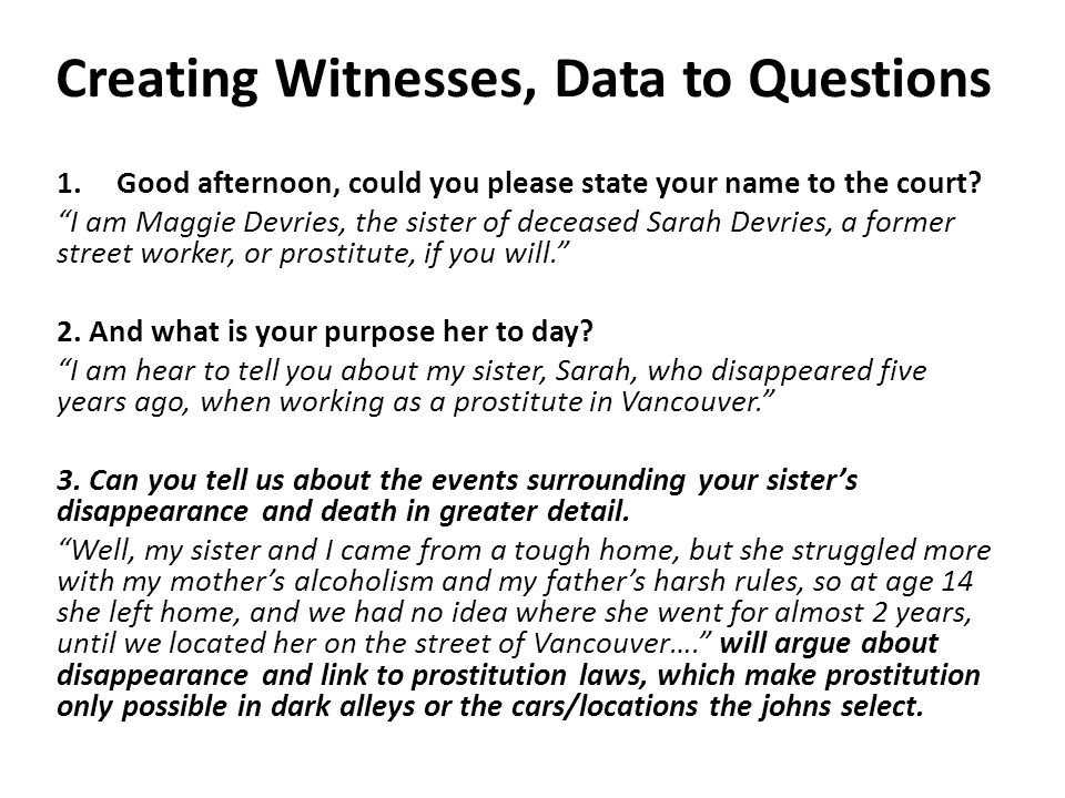 Creating Witnesses, Data to Questions 1.Good afternoon, could you please state your name to the court.