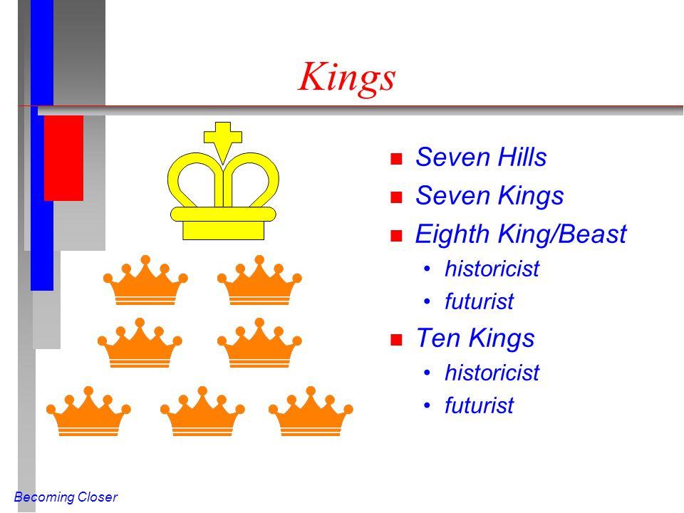 Becoming Closer Kings n Seven Hills n Seven Kings n Eighth King/Beast historicist futurist n Ten Kings historicist futurist